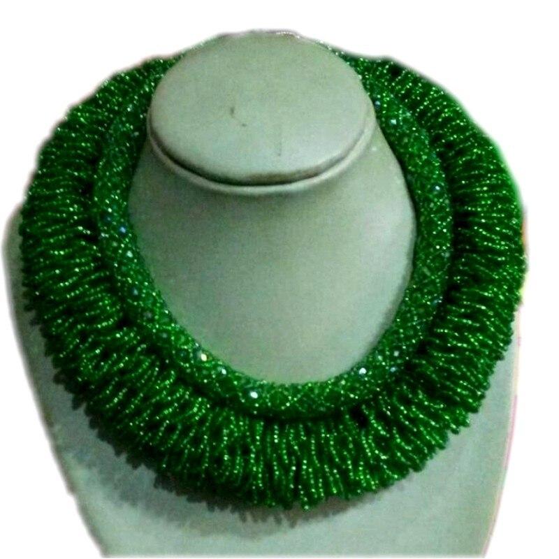 Ensemble de bijoux nigérians pour femmes audacieux vert africain Dubai ensemble de bijoux 2 couches nuptiales ensemble de bijoux filles/dames 2018 nouveau