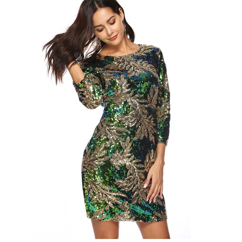 Verde Sera Girocollo Vestito Carnevale Festa Di Della Sexy Signora Grande Dresse Delle Lusso Foglia Formato Modo Paillette Green Da Argento Donne Partito Chic 5774UxAqw
