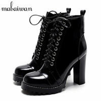 Fashion British Women Ankle Boots Patent Leather Platform Short Booties Sexy High Heels Women Pumps Lace