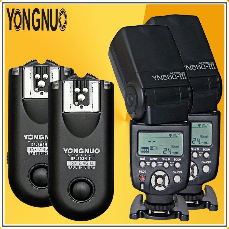 YONGNUO Pro 2 * YN560 III YN560III Flash Flash Flash lampe de poche + 2 * RF603N II Kit récepteur de déclenchement sans fil pour appareils photo reflex numériques Nikon