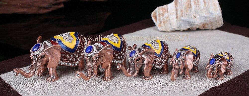 Antico 5 pz/set Thailandia elefante decor statuto scatola di gioielli di metallo per il ricordo colorato elefante trinket box glod elephant craft-in Confezioni e espositori per gioielli da Gioielli e accessori su  Gruppo 1