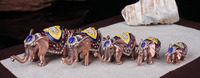 Antik 5 adet/takım Tayland fil dekor tüzük metal mücevher kutusu hatıra için renkli fil biblo kutusu glod fil zanaat