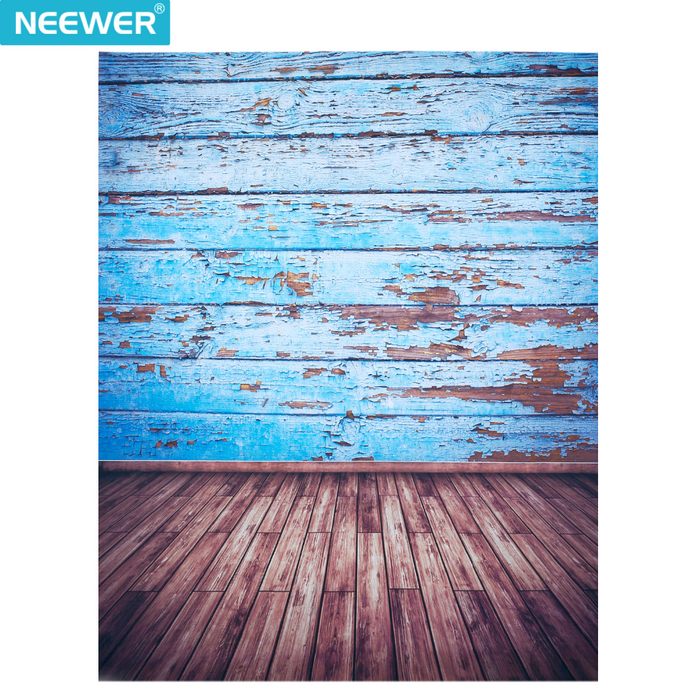 Neewer 5x7ft/150x210cm 100% Polyester Wooden Floor Backdrop Background for Photography Studio Video Shooting (Backdrop Only)Blue