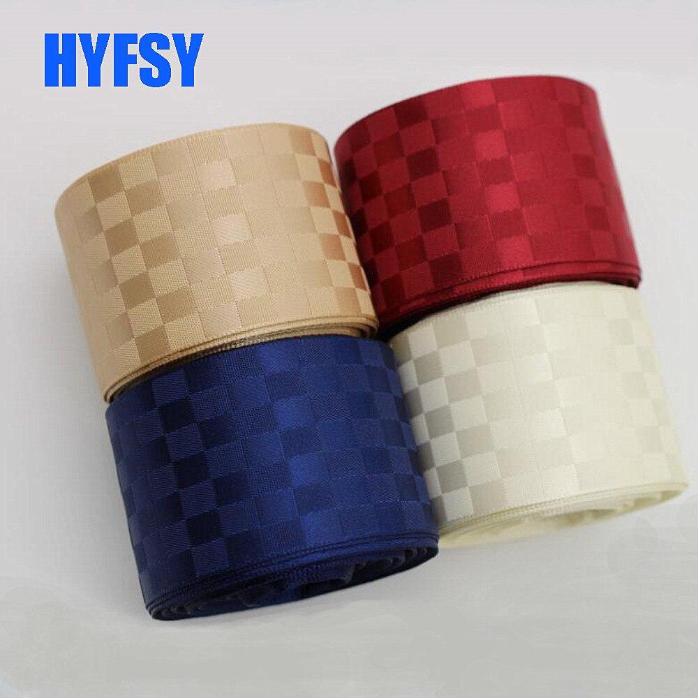 Hyfsy 25 38 мм кубическая решетка атласная лента 10 ярдов поделка бант Материал швейная ткань Подарочная обертка двусторонний плед