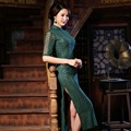 New Arrival Women's Long Cheongsam Traditional Hot Sale China Lady Lace Qipao Elegant Slim Dress Size S M L XL XXL F072420