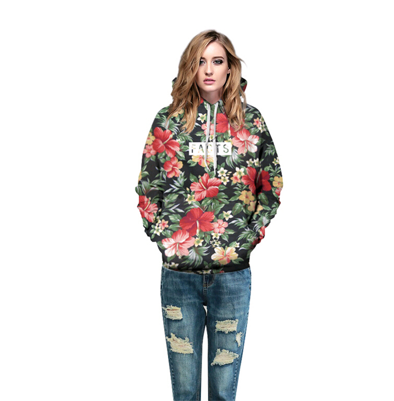 2018 autumn spring 3D Hoodies Floral Facts Print Men Women Brand Clothing Sweatshirt Unisex Couple models Hooded sweatshirt