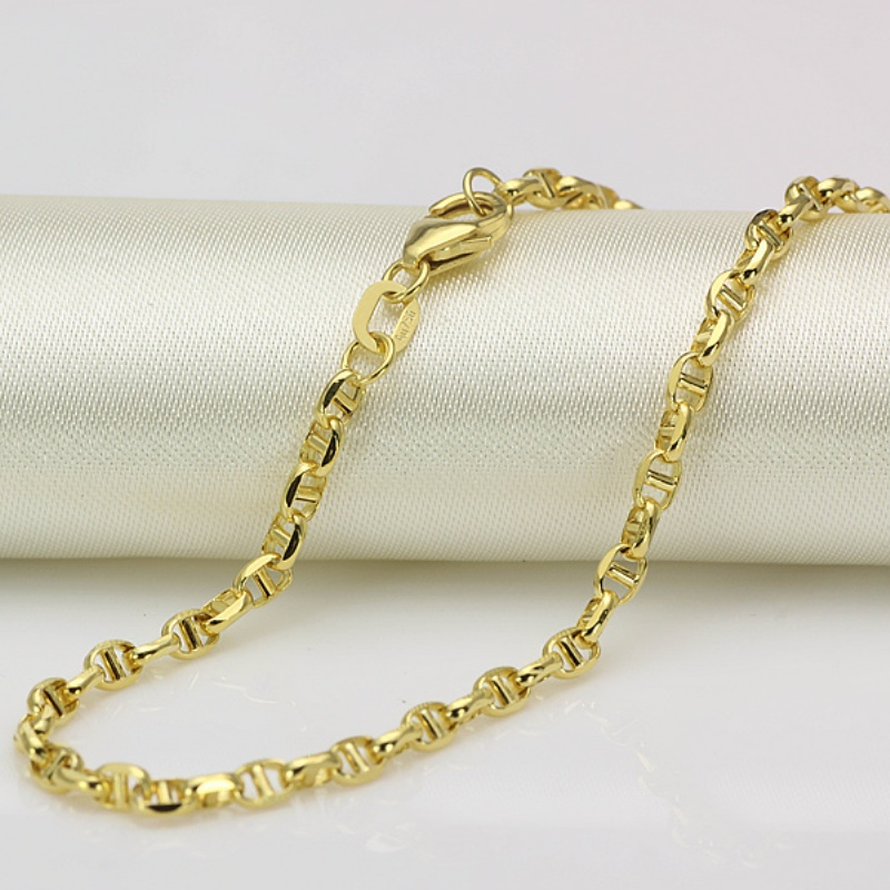 New Au750 Pure 18K Yellow Gold Chain Women Men Stud Link Necklace 18inch
