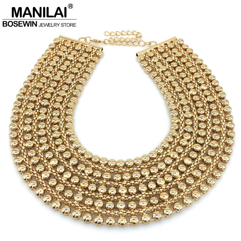 MANILAI Chunky Metal Statement Necklace For Women Neck Bib Collar Choker Necklace Maxi Jewelry Golden & Silver Colors Bijoux