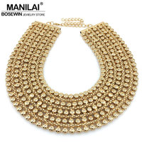 MAINILAI Chunky Metal Statement Necklace For Women Neck Bib Collar Choker Necklace Maxi Jewelry Golden Silver