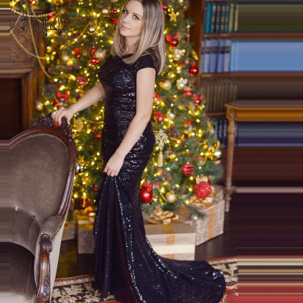 ADLN Black Cheap Evening Dresses with Slit Robe de Soiree Long Mermaid Party Dress Sequin Prom