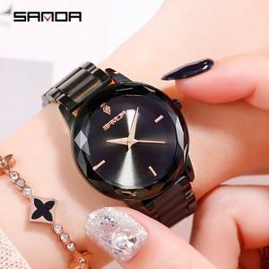 Image 2 - Sanda אופנה יוקרה נשים קוורץ שעונים צבע יהלומי שעוני יד מקרית שעון גבירותיי שעונים reloj mujer relogio feminino