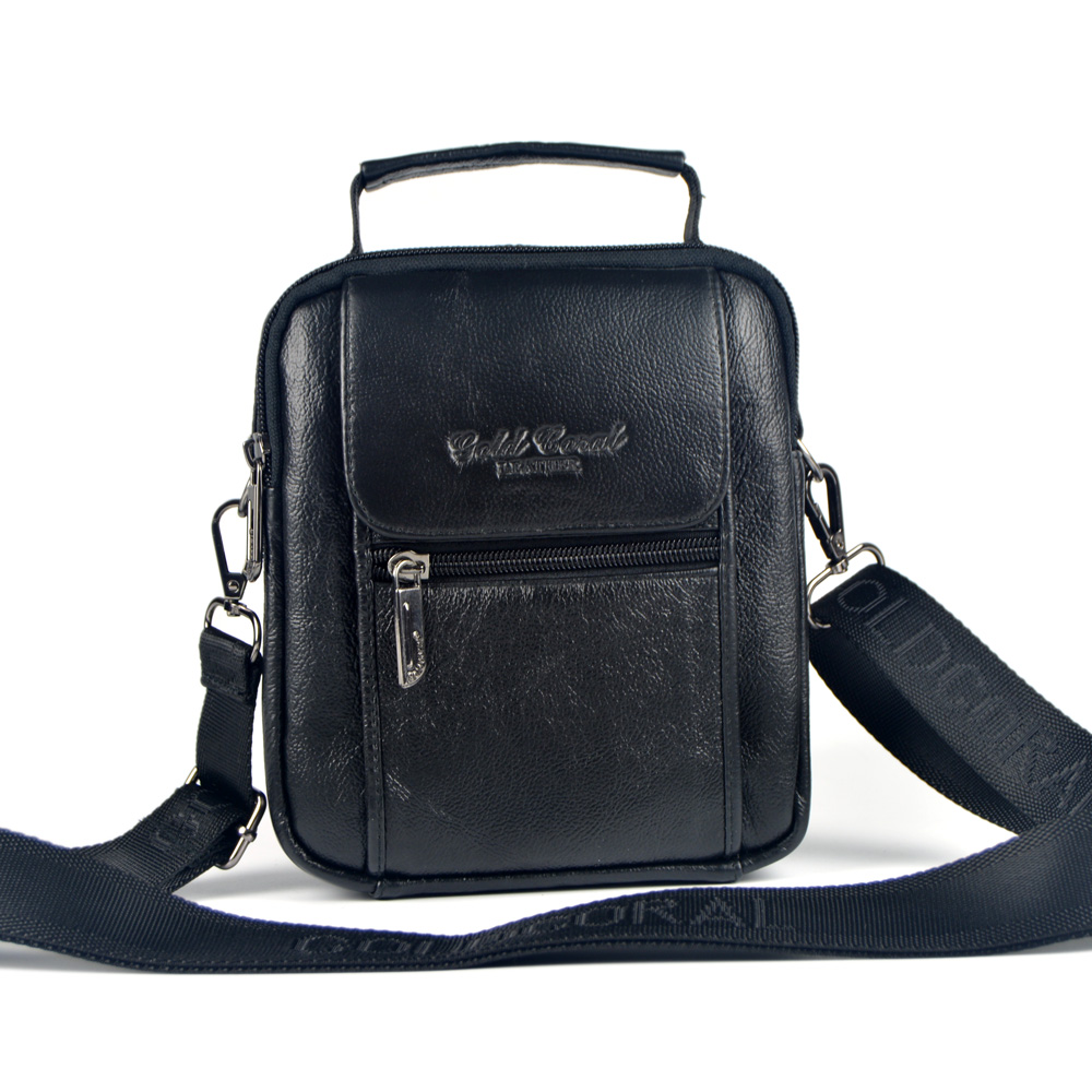 genuíno masculino couro pequeno homensageiro Big Bag Inner Structure : Zipper Secret Pocket, Credential Pocket
