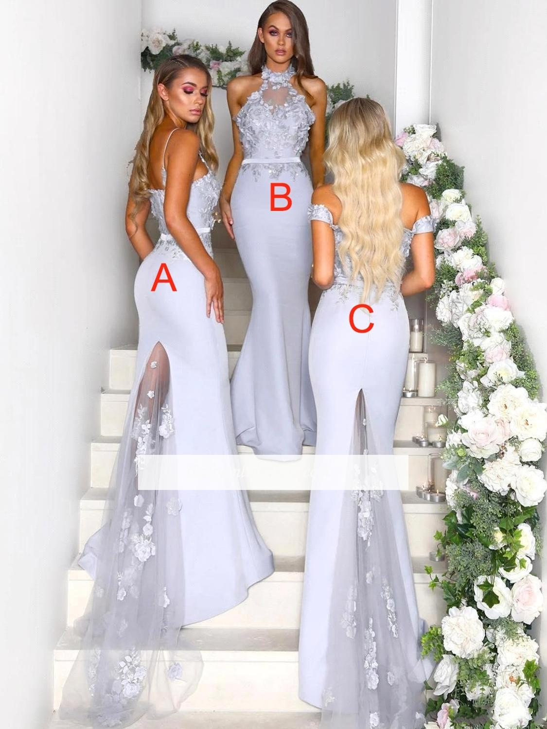 Silver 2019 Cheap   Bridesmaid     Dresses   Under 50 Mermaid Halter Satin Lace Long Backless Wedding Party   Dresses   For Women