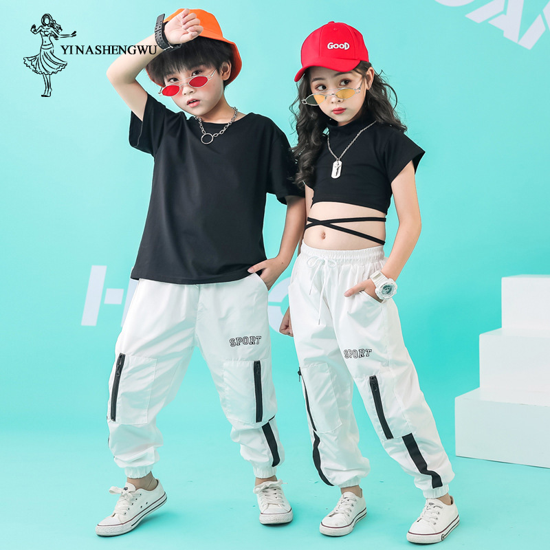 Children Street Dance Clothing For Kids Hip Hop Jazz Dance Costumes Girls Dance Korean Version Of The Navel Performance Clothing