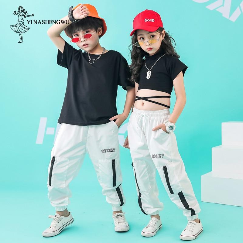 Children Street Dance Clothing For Kids Hip Hop Jazz Dance Costumes Girls Dance Korean Version Of The Navel Performance Clothing