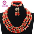 African Coral Beads Nigerian Handmade Jewelry Set Tube Coral Beads Necklace Set Gold Plated Gift Jewelry Free Shipping CNR732