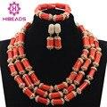 Perlas de Coral africana de Nigeria Joyería Hecha A Mano Set Tubo de Coral Perlas Del Collar De Oro Regalo de La Joyería Envío Gratis CNR732