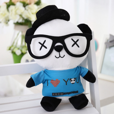 cartoon panda I love you dress style glasses panda large 70cm plush toy panda doll throw pillow, proposal ,Christmas gift x025 lovely giant panda about 70cm plush toy t shirt dress panda doll soft throw pillow christmas birthday gift x023