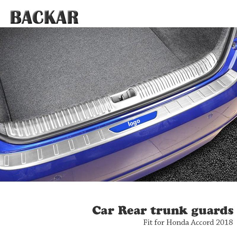 BACKAR 1pc Auto Car Rear Trunk Bumper Stickers For Honda Accord 10th 2018 Accessories Trunk Door Trim Anti Collision