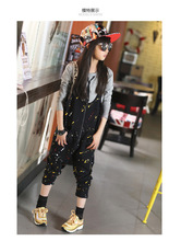 Letters tshirt Spring Autumn Long Sleeve Overall pants Two Pieces Kids Clothing Sets Cotton Grey Black