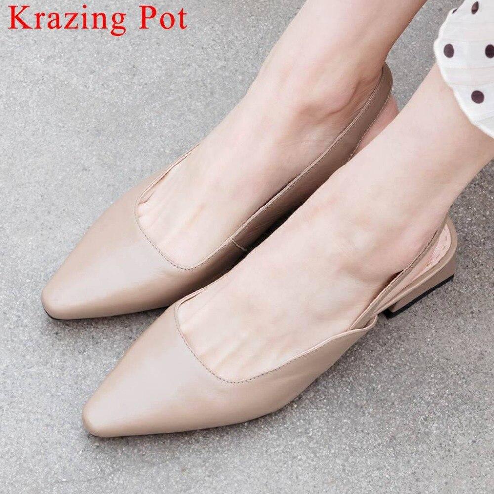 Ayakk.'ten Düşük Topuklular'de Krazing Pot süperstar doğal deri düşük topuklu ofis bayan elbise dansçı kadın sandalet üzerinde kayma kare ayak slingback ayakkabı L02'da  Grup 1