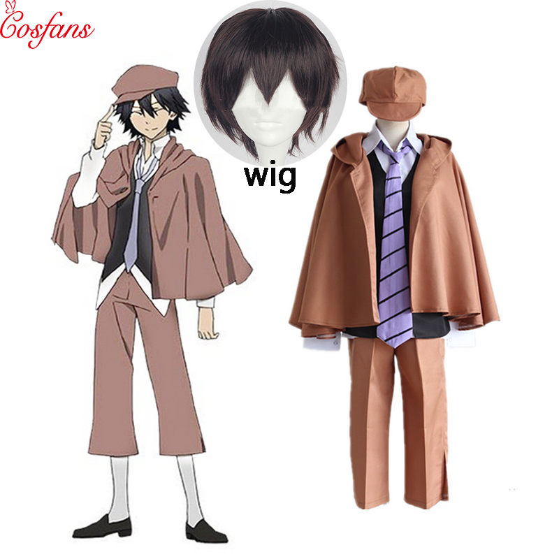 2019 6PCS Anime Bungo Stray Dogs Detective Ranpo Edogawa Cosplay Costumes Vest Cloak Pants Tie Hat Uniform Suit Outfit And Wig