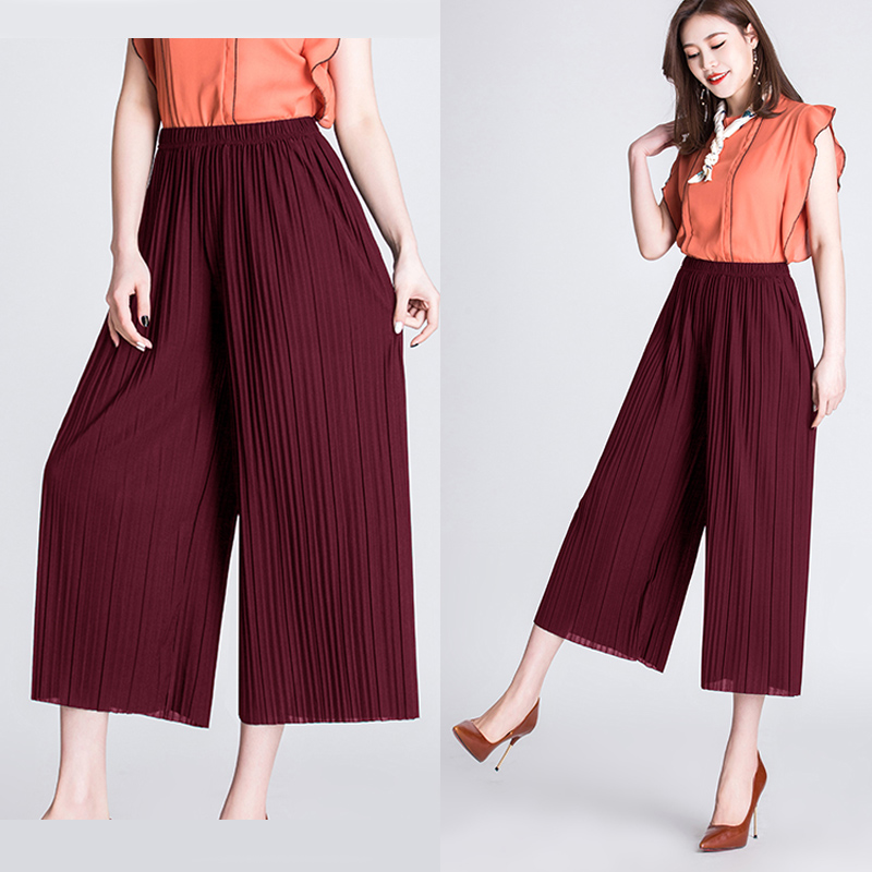 SNOW PINNACLE Women Summer   Wide     leg     Pants   Casual Solid Chiffon Thin High wiast Calf-length Loose Pleated   pants   plus size XL-4XL
