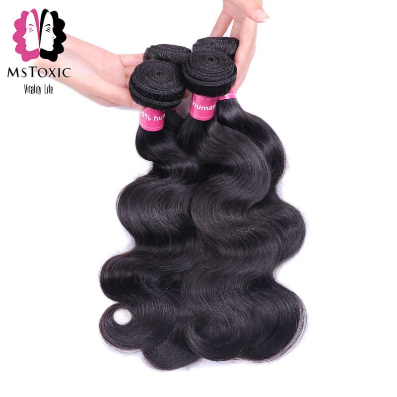 Mstoxic font b Hair b font 4 Bundles Brazilian Body Wave Human font b Hair b