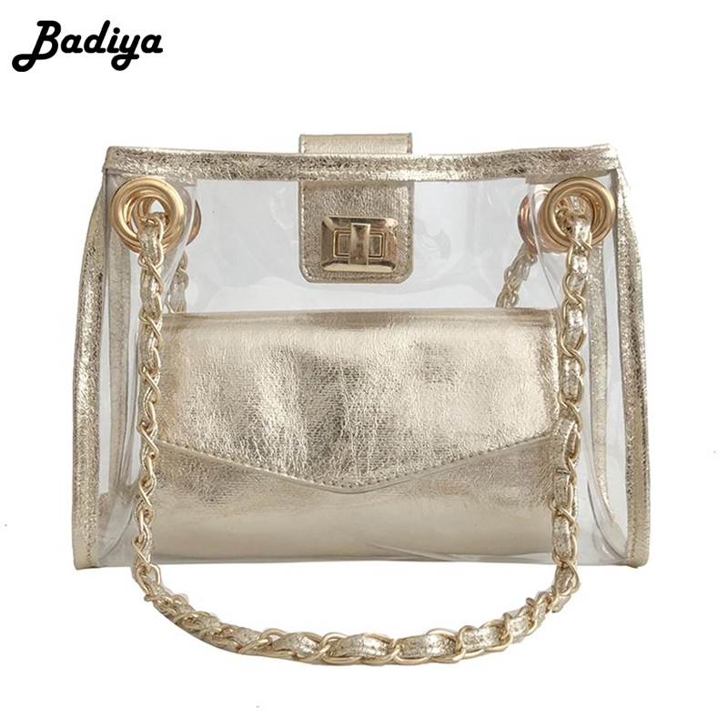 Clear Transparent PVC Shoulder Bag Women Summer Candy Jelly Single Chain Crossbody Bag Turn Lock Fashion Shopping Bag
