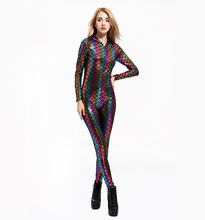 00208f1b05 Women Jumpsuits Sexy Fish Scales 3D Printing Mermaid Bodysuit Zipper Front  Hoodies Jumpsuit 5(China