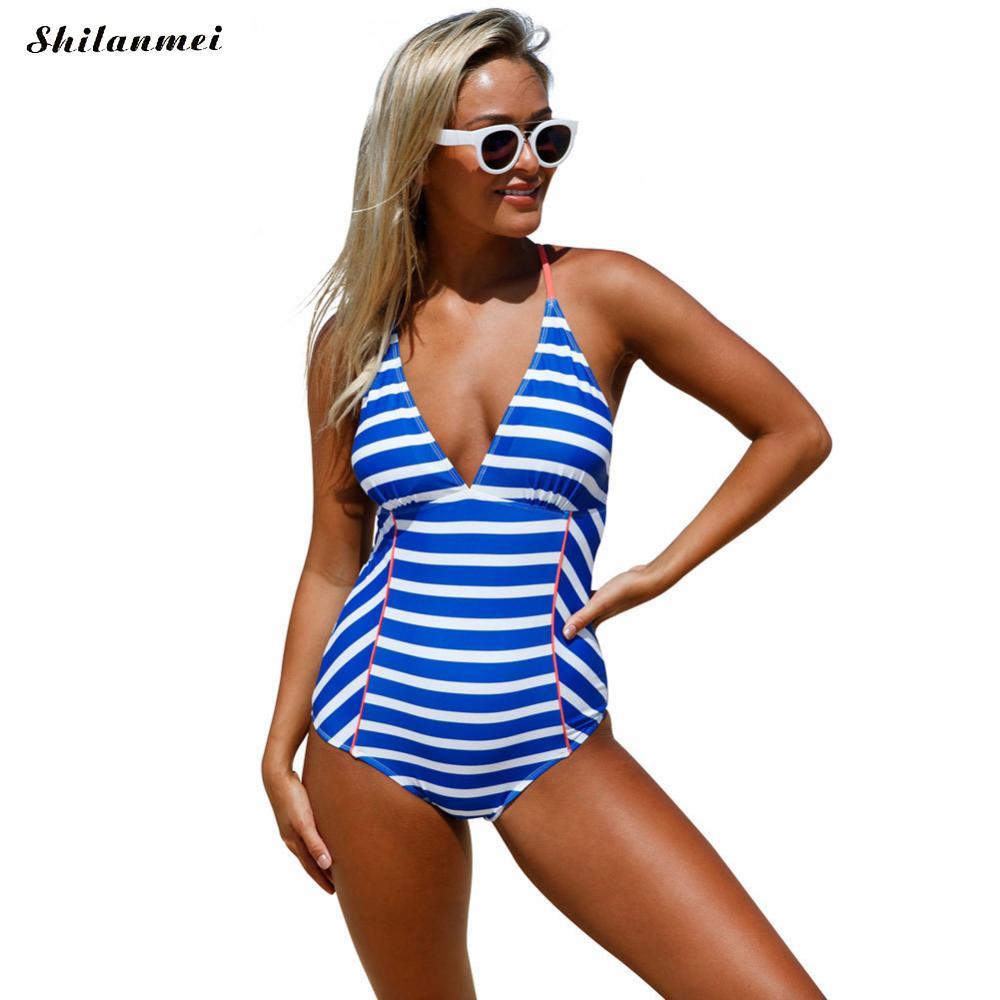 Blue White Striped Swimwear 2017 Women High Cut Bandeau One Piece Swimsuit Sexy Lace Up Backless Bathing Suit brief candy color lace up one piece swimwear for women
