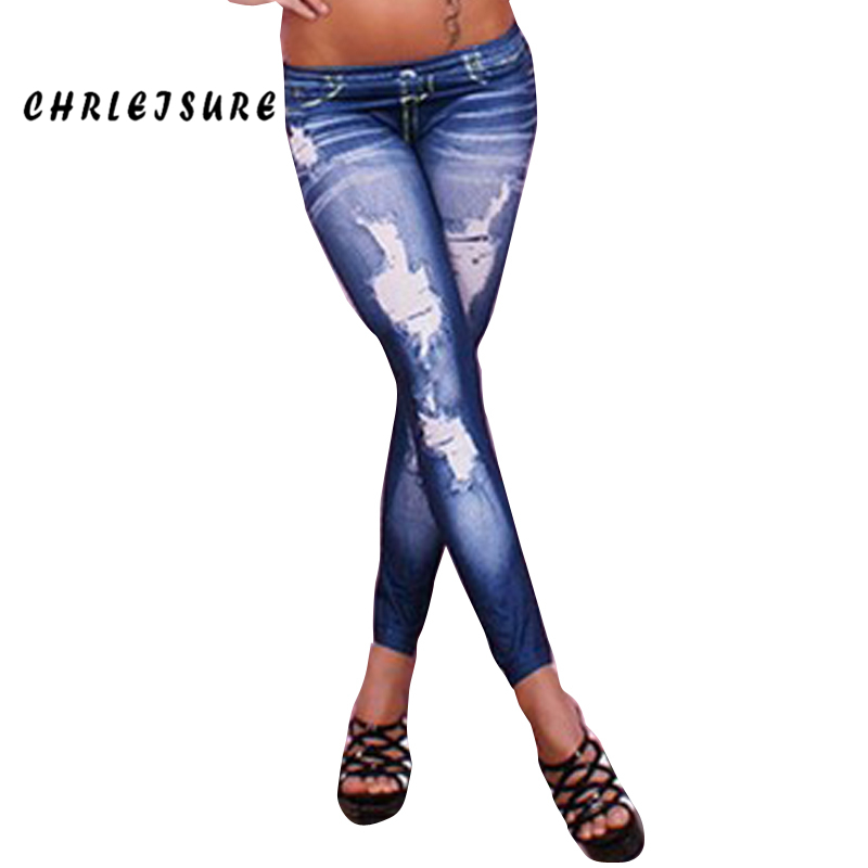 CHRLEISURE Woman Print Denim   Leggings   Pattern Spring Black Blue   Leggings   Jeans Slim Sexy Big Size Elastic Nine   Leggings   Women