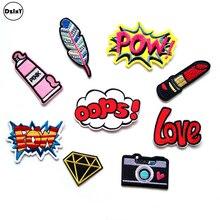 1 шт., розовые вышитые патчи для девочек, железные нашивки для одежды, DIY полосатая одежда, наклейки с буквами на заказ, значки@ H