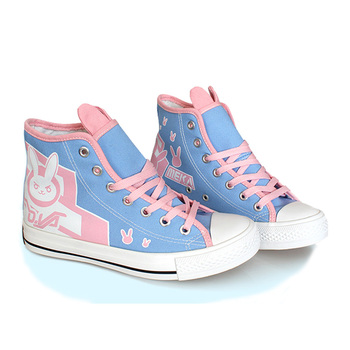 Summer Cute Kawaii D.va Canvas Shoes For Anime Cosplay Costume D.va Shoes Women Rabbit Breathable Casual Shoes