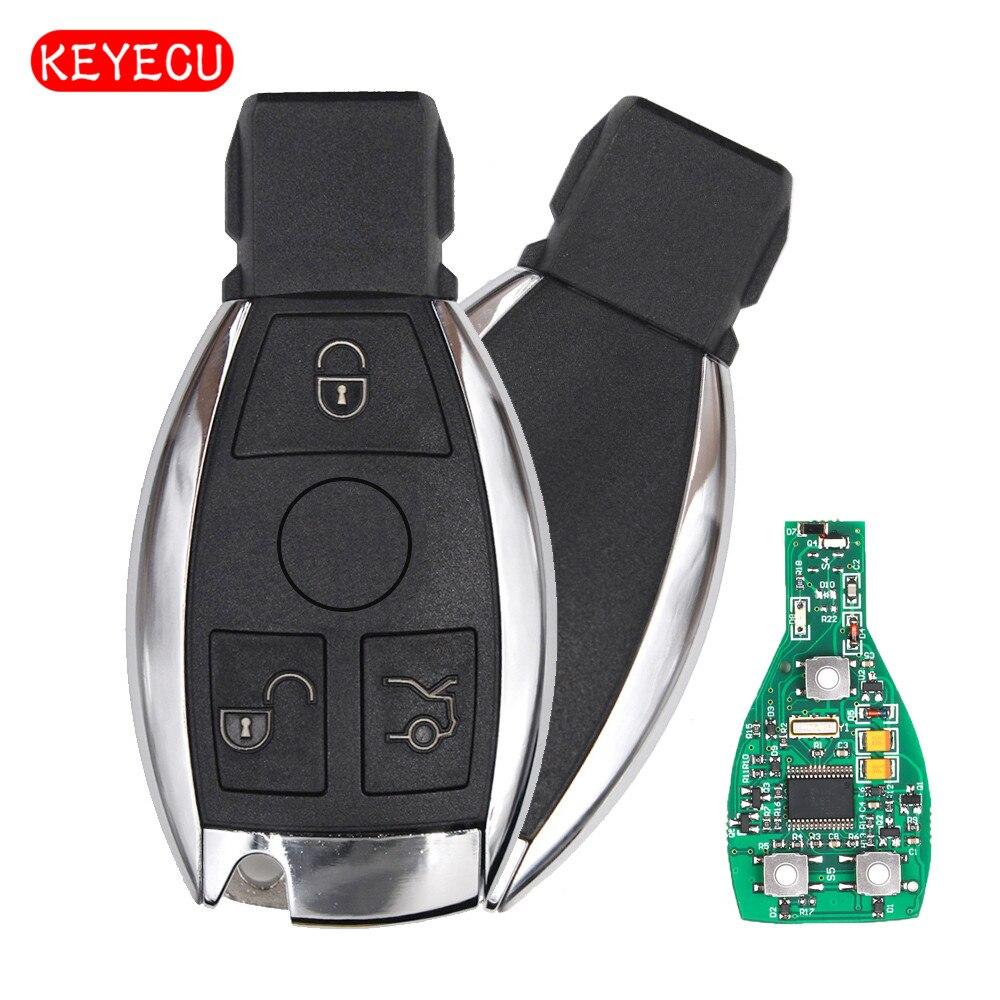 Keyecu 3 Botões Chave Inteligente 315 mhz/433 mhz para Mercedes Benz Chave Auto Remoto Suporte NEC E BGA 2000 + Anos