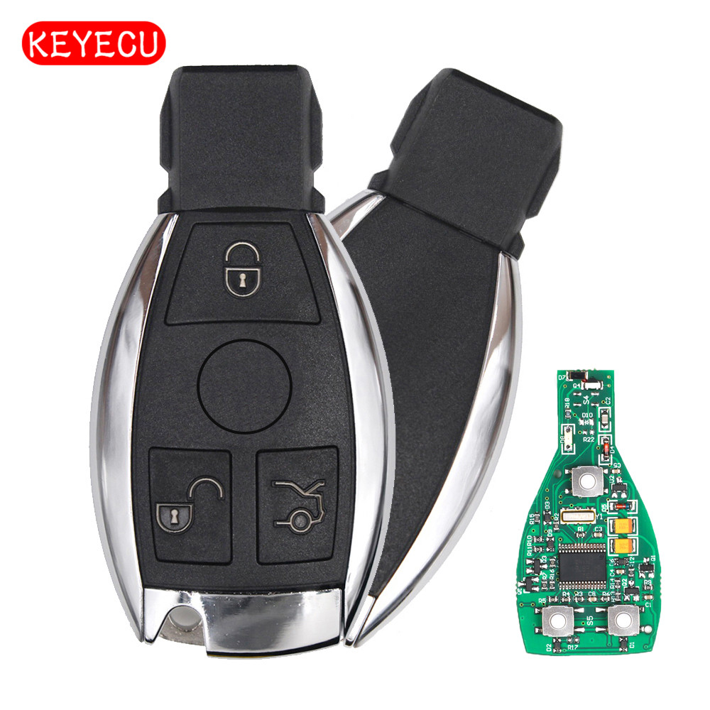 Keyecu Smart Key 3 Buttons 315MHz/433MHz for Mercedes Benz Auto Remote Key Support NEC And BGA 2000+ Year new updating smart key for benz 3 button 433mhz 315mhz easy to create a new key for mecerdes good quality