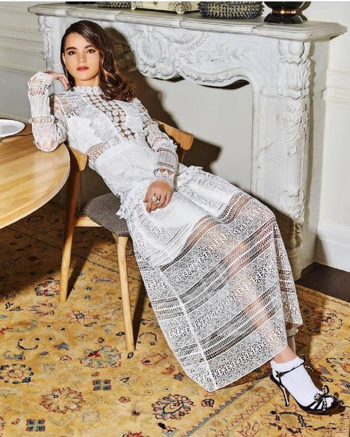 Femmes Blanc 2019 De À Longues Robe Manches Nouveau Dentelle Arrivent WR6ZT