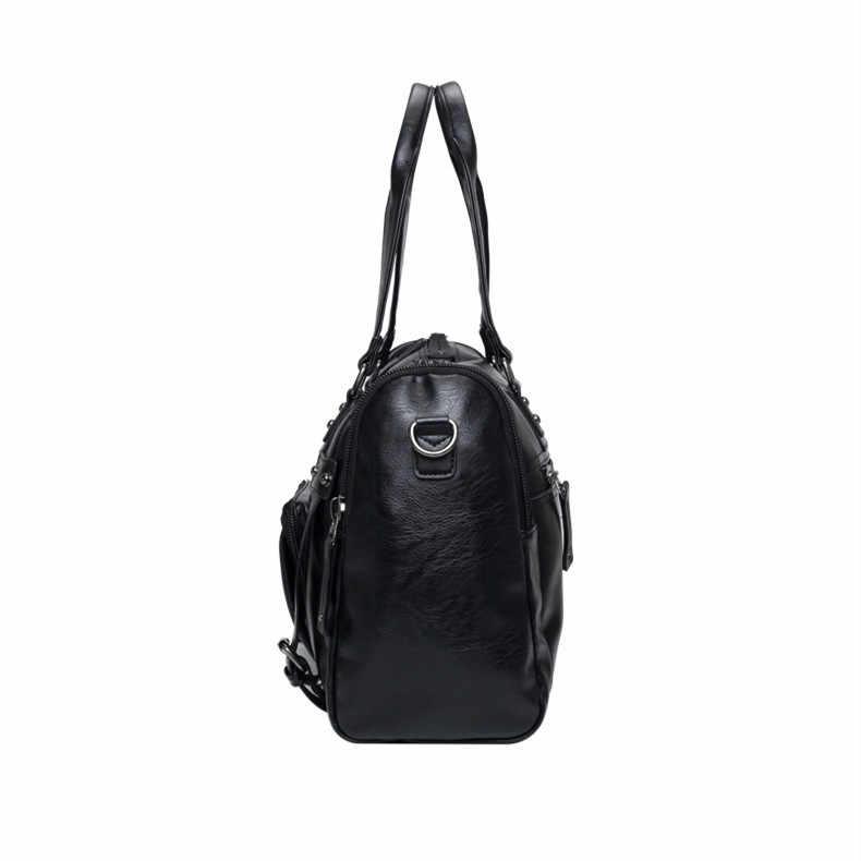 Мужские повседневные черные деловые Дорожные Сумки из искусственной кожи большой чемодан в стиле ретро многофункциональная Дорожная сумка Мужская большая классическая сумка