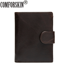 Guaranteed 100% Genuine Leather 2017 New Arrivals Notebook Style Short Men Business Wallets Large Capacity Coin Purses for