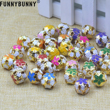 FUNNYBUNNY 10pcs Mixed Color Flower Ball Jingle Bells Decoration Wedding Party Craft 14mm