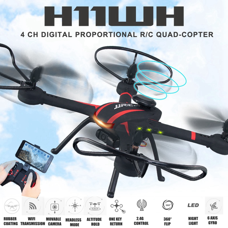 JJRC H11WH RC Drone With 2MP WiFi Rotatable Camera Height Hold Mode One Key Land Fpv