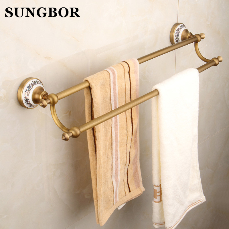 Antique Brass Ceramic Base Bathroom Accessory Wall Mounted Double Towel Bar Towel Rail Rack Holder Bathroom Fitting FY-80311F aluminum wall mounted square antique brass bath towel rack active bathroom towel holder double towel shelf bathroom accessories