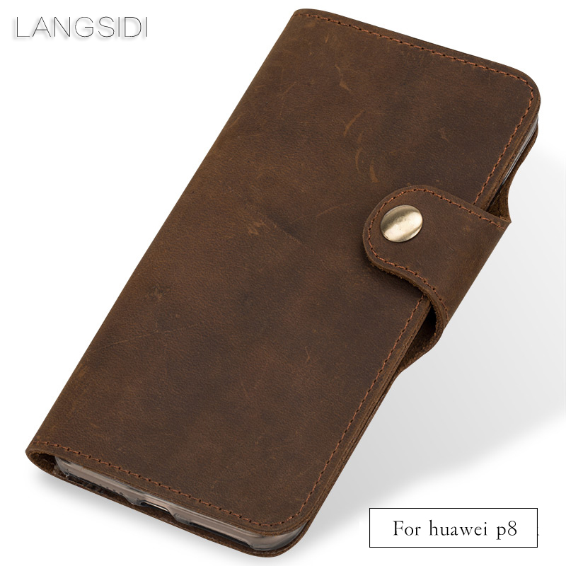wangcangli Genuine Leather phone case leather retro flip phone case For Huawei p8 handmade mobile phone casewangcangli Genuine Leather phone case leather retro flip phone case For Huawei p8 handmade mobile phone case