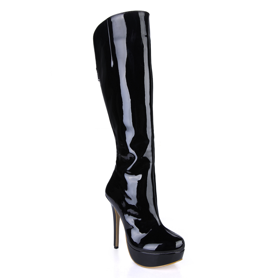 2016 Winter Sexy Black Party Shoes Women Round Toe Stiletto High Heels Platform Ladies Knee-High Boots Zapatos Mujer 3463BT-q2