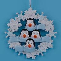 Penguin Family With Snowflake Of 4 Polyresin Christmas Personalized Ornaments