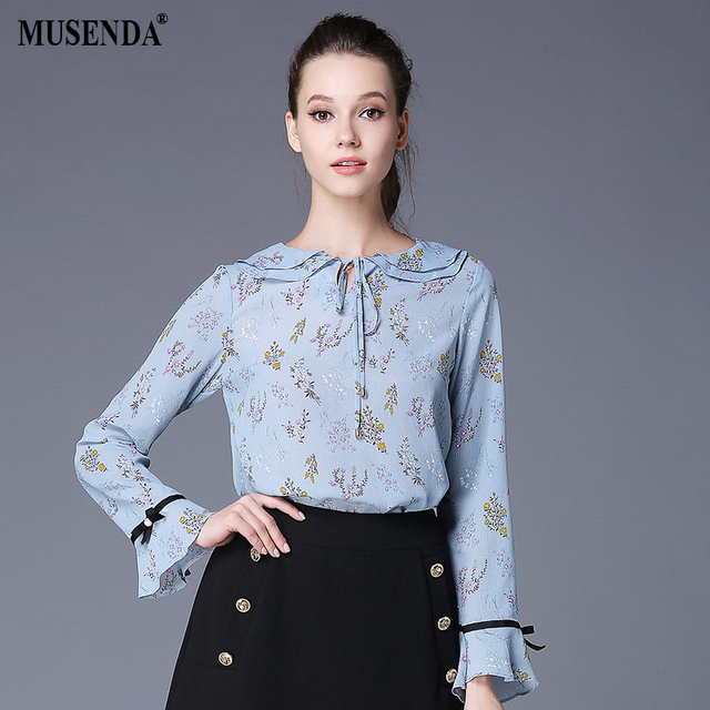 eceba6f9410 MUSENDA Plus Size Women Light Blue Print Peter Pan Collar Long Flare Sleeve  Blouse 2017 Autumn