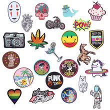 1Pcs UFO Space Planet Patch Embroidered DIY Unicorn Iron On Kids Patches For Clothing Cute Punk Skull Stickers Badge Appliques A