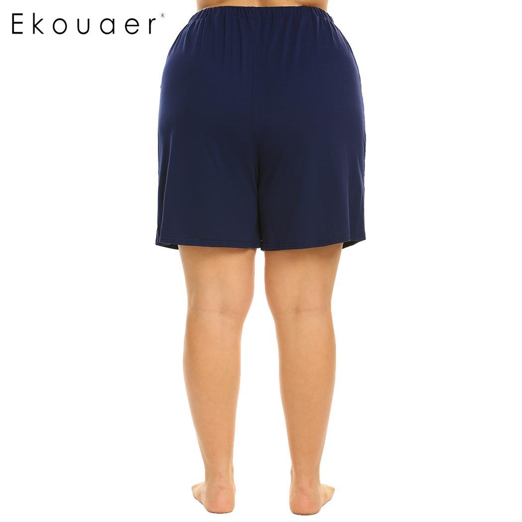 Ekouaer Plus Size Women Elastic Waist Short Pants Pajama Sleep Bottom Soft Loose Lounge Sleepwear Pants Female Nightwear XL-5XL 4
