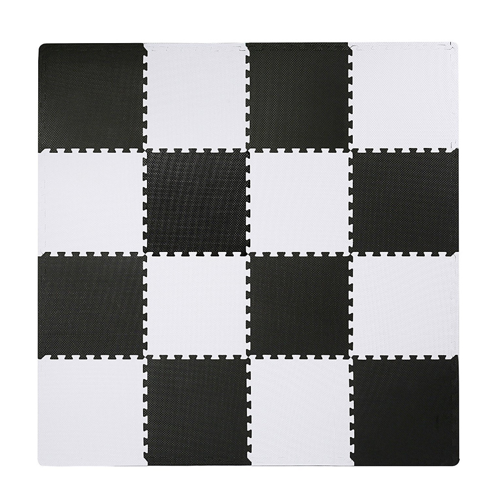 Meitoku Baby EVA Foam Play Puzzle Mat,Black White Interlocking floor carpet Rug, 25Tiles pad for kids. each 32x32cm Free edge. meitoku boby wood grain play puzzle mat home floor soft carpet rug eva foam interlocking tiles for kids each 60x60cm free edge