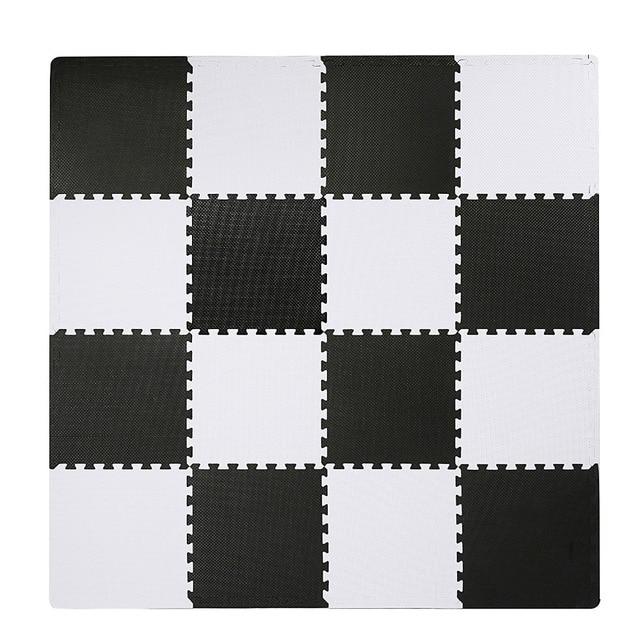 Meitoku Baby EVA Foam Play Puzzle MatBlack White Interlocking Floor - Black and white interlocking floor mats